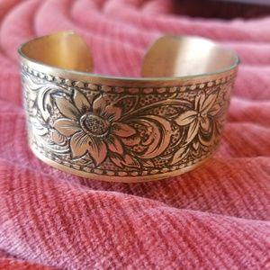 Vintage Floral Copper Bracelet